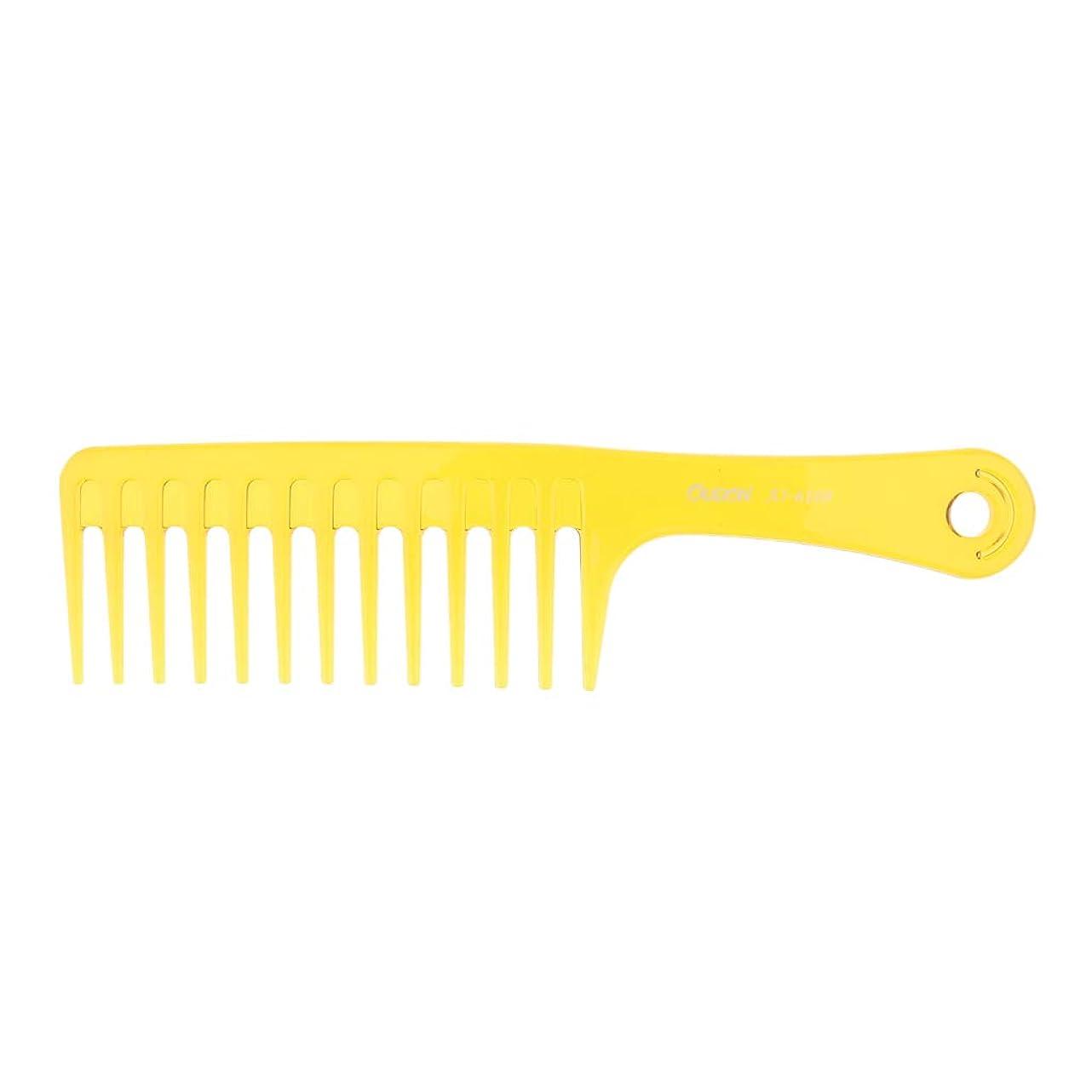 アメリカくすぐったい賢いP Prettyia ヘアブラシ 帯電防止櫛 プラスチック製 ヘアコーム サロン用 自宅用 2色選べ - 黄