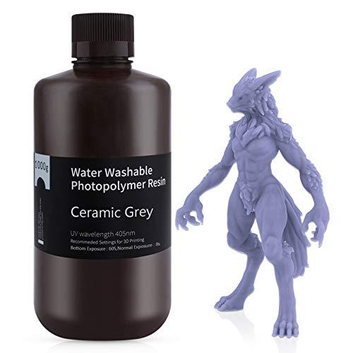 ELEGOO 405nm Wasser Waschbares Resin, 3D Drucker Rapid Resin für LCD UV Härtung Photopolymer 3D Drucker 1000g Grau