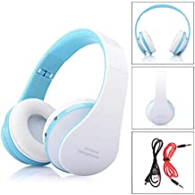 Universal Foldable Wireless Bluetooth Sport Stereo Headphone Handfree With Mac(White Blue) Colour