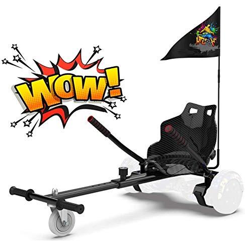Hoverkart para Patinete eléctrico Asiento Kart para Self Balancing Scooter Longitud Ajustable, Compatible con Todos los patinetes - 6.5/8 / 8.5/10 Pulgadas (Negro)