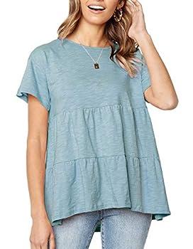 Women Casual Loose Blouse Swing Shirts High Low Top Summer Beach Solid T-shirt Pea Green,XL