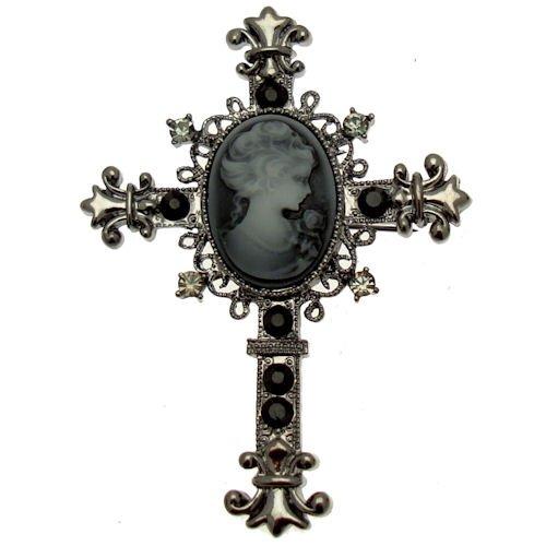 Acosta - diseño victoriano - gran cruz de cristal broche camafeo - en caja de regalo