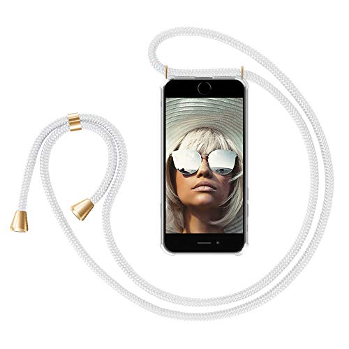 ZhinkArts Handykette kompatibel mit Apple iPhone 6 / 6S - Smartphone Necklace Hülle mit Band - Handyhülle Case mit Kette zum umhängen in Weiß