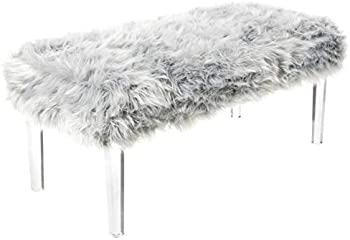 Iconic Home Trento Modern Contemporary Faux Fur Acrylic Leg Bench