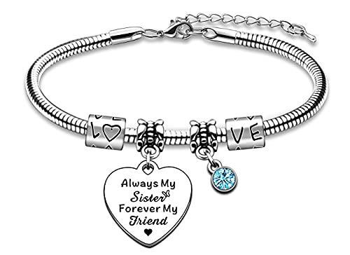 AMZQ Pulsera para hermana, regalo de cumpleaños para hermanas, regalos de hermana, regalos de cristal azul, siempre mi hermana y mi amiga