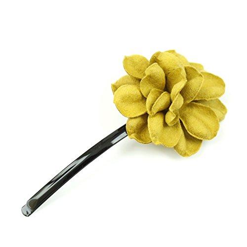 rougecaramel - Accessoires cheveux - Mini pince fleur en cuir véritable - jaune