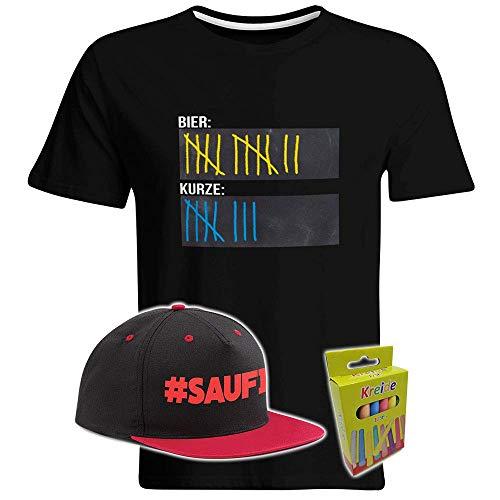 T-Shirt mit Tafelfläche inkl. Kreide und Snapback (Schwarz/Rot) Bier Schnaps Strichliste Alkohol Kurze Tafel Malle Mallorca Saufen Party Eskalation (M)