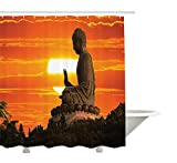 Yeuss Asiatischer Duschvorhang, östliche religiöse Statue & Tempel über malerischem Sonnenuntergang Bild drucken,Stoff Badezimmer Dekor Set mit Haken,Orange Khaki dunkelgrün