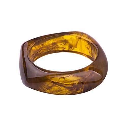 ZOOMY Resin Bangle Unregelmäßigen Blumendruck Geschenke Frauen Dekoration Armband Armreifen Geometrische Dame Ring - Bernstein