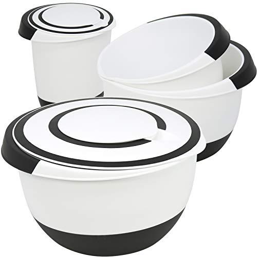 com-four® 4x Rührschüsseln in verschiedenen Größen, rutschfest mit Gummiboden, Ausgießer und rutschfestem Griff (4-teilig - Set3)