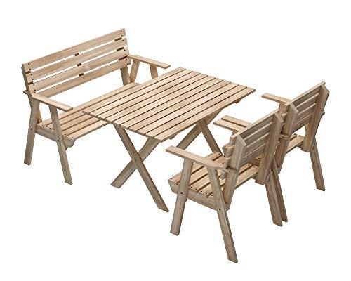 PLATAN ROOM Gartenmöbel aus Kiefernholz 127 cm / 120cm / 80cm / 63cm breit Gartenbank Gartentisch Gartenstuhl Kiefer Holz imprägniert (Set 3 (Tisch + eine Bank + 2 Sessel), 120cm)