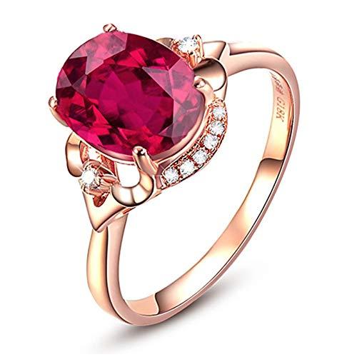 Aimrio Ring Rotgold 18 Karat, Turmaline Ring Damen 750 Gold Halo Ring mit Turmaline und Diamant Echt Gold Verlobungsringe 2.1 carat Größe 56 (17.8)