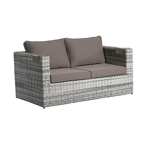 Home Islands Loungesofa 2-Sitzer Polyrattana Kyoko, inkl. Sitz- und Rückenkissen, inkl. Getränkehalter/Tabletts