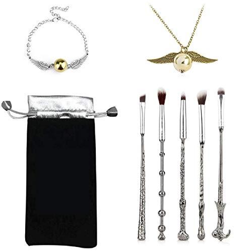 Wizard Wand Potter Pinceles de maquillaje, 5 juegos de pinceles para mezclar sombras de ojos, herramienta de maquillaje cosmético, con collar Potter/pulsera y bolsa de regalo