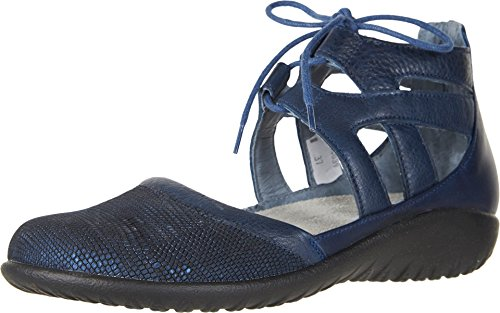NAOT Women's Lace-up Kata Shoe Navy Lthr Combo 6 M US