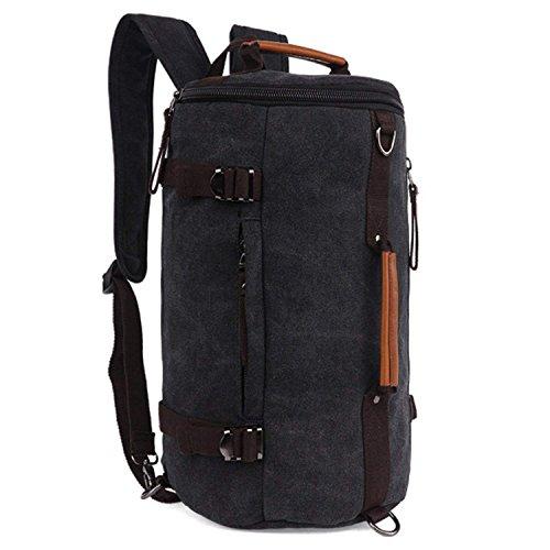 Fresion 3 in 1 Sporttasche Reisetasche mit Schultergurt + Rucksack-Funktion | 38 Liter Handgepäck Weekender Duffle Bag | für Männer und Frauen (Schwarz)