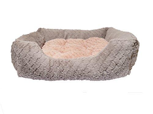 Rosewood 04406 Hundebett Large aus kuschelig weichem Pelz mit Wirbelmuster und Plüsch-Wendekissen innen - Maschinenwäsche, 71x58cm, grau/pink