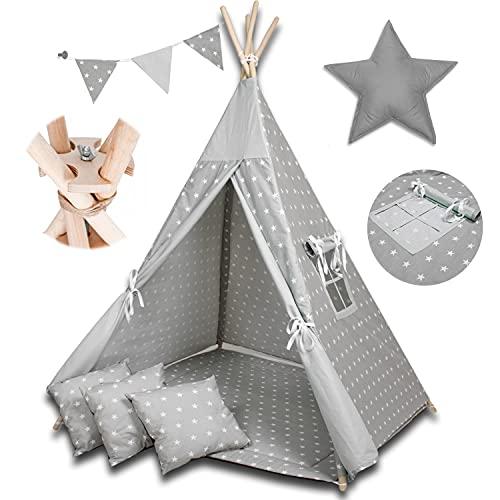 PALULLI Tipi Spielzelt für Kinder mit Matte & Anti-Kollaps-System & 4 Dekokissen Baumwolle- Segeltuch Kinderzelt (Stars GRAU)