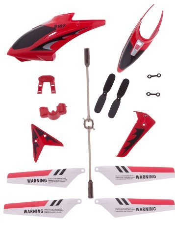 Eastvita Red Full Replacement Parts Set for Syma S107 RC Helicopter,including Head Cover S107G-01,Main Blades S107G-02,Tail Decorations S107G-03,Connect Buckle x2 S107g-04,Balance Bar S107G-05,Tail Blade S107G-06