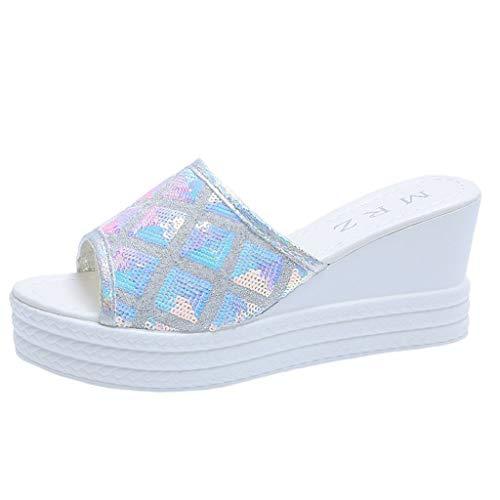 NMERWT Damen Hausschuhe Sommer Mode Plattform Keilabsatz Sandalen Pailletten Sandaletten Flip Flops