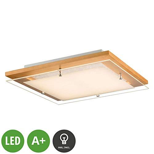 Lindby LED Deckenlampe 'Cattleya' (Landhaus, Vintage, Rustikal) aus Holz u.a. für Wohnzimmer & Esszimmer (A+, inkl. Leuchtmittel) - Deckenleuchte, Lampe, Wohnzimmerlampe