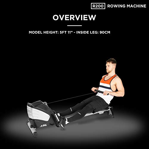 JLL R200 Luxury Home Rowing Machine, 2021 Model Rowing Machine Fitness Cardio Workout with Adjustable Resistance, Advanced Driving Belt System, 12-Month Warranty, Black and Silver Colour