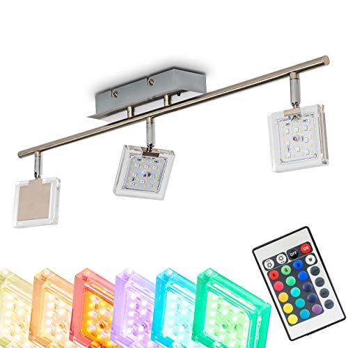LED Deckenleuchte Parnu, dimmbare Deckenlampe aus Metall in Nickel-matt, 3-flammig mit verstellbaren...