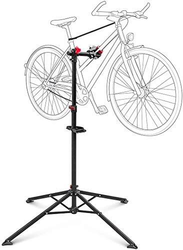 Relaxdays Bicycle Stand with Tool Storage, for Bike Maintenance & Folding and Adjustable, w 4 Legs, Steel, Black