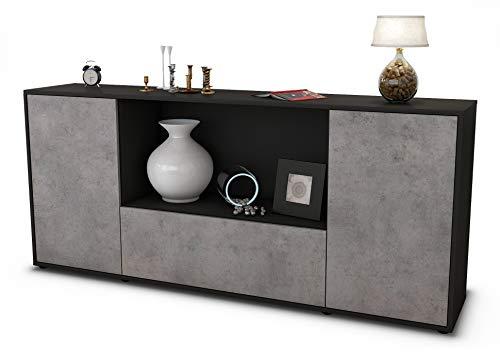 Stil.Zeit Sideboard Ella/Korpus anthrazit matt/Front Beton Optik (180x79x35cm) Push-to-Open Technik
