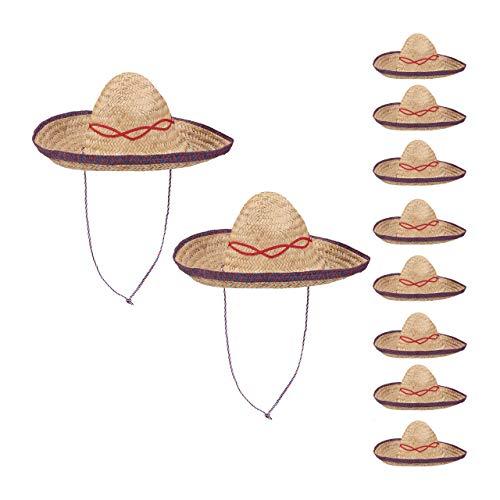 relaxdays 10er Set Sombrero Hut Stroh, Mexikohut, HxBxT: 18 x 44 x 48 cm, Strohhut geflochten, Kinnriemen, Mexiko Partyhut, beige