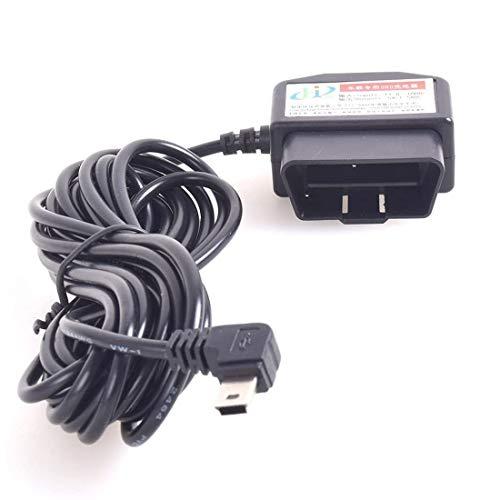 Auto OBD2 Carga Cable Mini USB Alimentación Adaptador USB con Interruptor Botón - 16Pin OBDII Conector Directo Enlace Coche Cargador para GPS DVR Dash Cam E-perro Teléfono - 12-24V 3M / 11.5FT