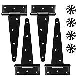 4 Piezas Bisagras para Puertas, Bisagra Forma en T, Bisagra en T de Acero Inoxidable con 24 Tornillos, Visagras para Puerta de Madera, Negro Bisagras para Puertas(6 Pulgadas) (4 piezas)