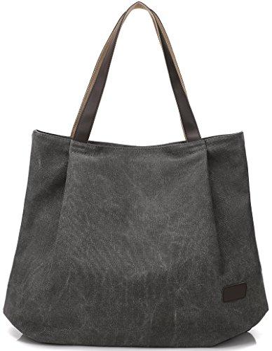 DCCN Canvas Shopper Bag Damen Handtasche Einkaufstasche mit Große Kapazität 48 * 38 * 15cm