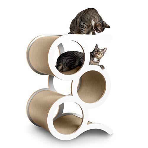 CanadianCat Company ® | Kratzmöbel Montreal mit 3 Ringen - Beiger Teppich - der Designer Kratzbaum für große Katzen