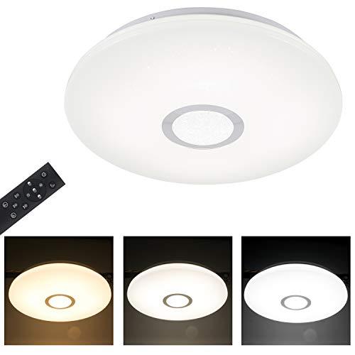 T-SUN 18W Regulable Luz de techo LED, IP44 Impermeable Plafón, Φ30cm Lámpara de Techo LED Para Baño Cocina Dormitorio Ducha Sala Comedor Estudio Balcón Pasillo.(3000/4000/6000K)