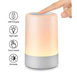 G Keni Nursery Night Light for Babies, LED Bedside Touch Sensor Lamp for Kids Breastfeeding and Sleep Aid, USB Rechargeable Nursery Lamp Dimmable Warm Night Light, Soft Eye Caring