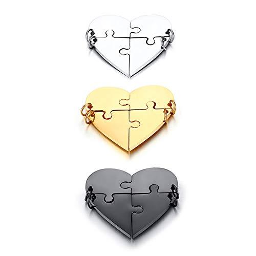 Beglie Halskette für Unisex Puzzle Herz Titan Anhänger Halsketten Gold Kettenanhänger Herren