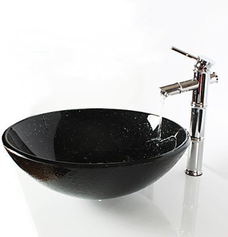 BSZLL Black circular glass wash basin bamboo bamboo bamboo faucet, pop-drain and install the ring 603caf