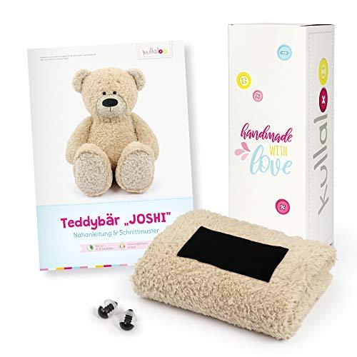 kullaloo Stoffset/Geschenkset zum Teddy nähen - mit Nähanleitung als gedruckte Broschüre, Teddyplüsch und Sicherheitsaugen, verpackt in Einer bezaubernden Einhorn-Geschenkbox (beige)