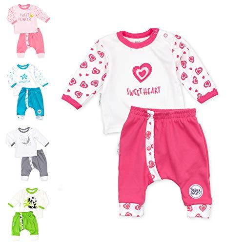 Baby Sweets Baby Set Hose + Shirt Mädchen weiß pink | Motiv: Sweet Heart | Marke Babyset 2 Teile mit Herzmotiv für Neugeborene &...