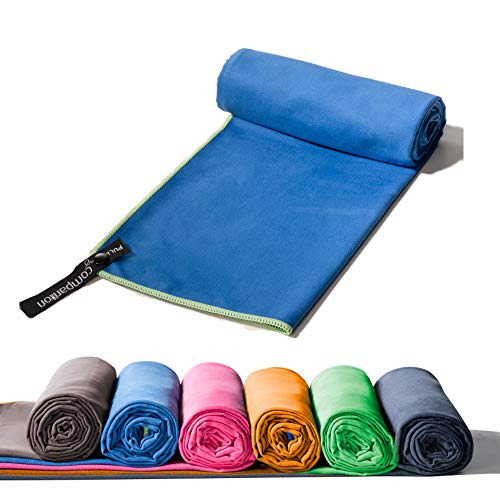 myCompanion Handtücher in 160x80cm / Blau/Grün – klein, leicht und Ultra saugfähig - das perfekte Sporthandtuch, Reisehandtuch, Badetuch, XXL Strandhandtuch, Sauna Handtuch