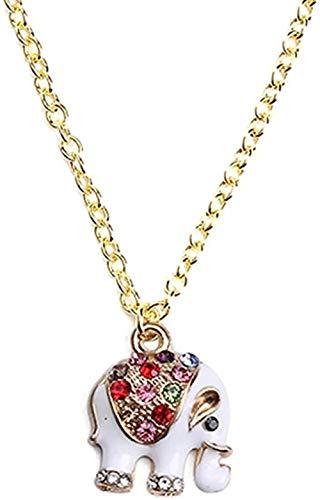 MNMXW Collar con Colgante de Elefante de Diamantes de imitación en Tono Dorado en una Bolsa de Regalo de Organza