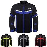HWK Mesh Motorcycle Jacket Riding Air Motorbike Jacket Biker CE Armored Breathable (XXX-Large, Blue)