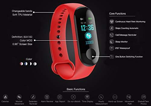Fitness Trackers,Pantalla de Color Impermeable Monitor de Ritmo cardíaco Pulsera Inteligente Podómetro Contador de… 5