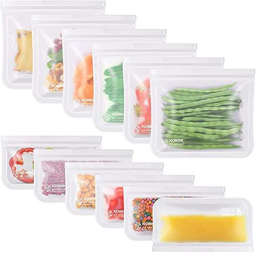 Kollea 12 Pack Wiederverwendbarer Lebensmittelbeutel, Obst- und Gemüsebeutel PEVA Aufbewahrungsbeutel Sandwichbeutel Küche Beutel für Gemüse Milch Snacks Fleisch,FDA-Qualität