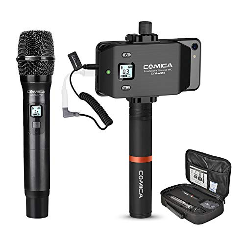 Wireless Smartphone Microphone System-Comica CVM-WS50(H) 6 Channels Professional Handheld Microphone for iPhone Samsung Galaxy Note BLU Moto LG Google Android Phones, Perfect for Interview Recording