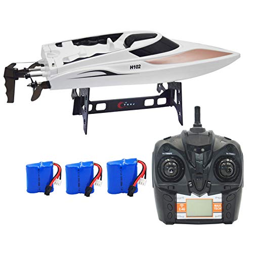 Blomiky TKKJ H102 20MPH+ Racing RC Boat 2.4Ghz 4CH High Speed Remote Control Boat for Pool Lake and River Extra 2 Battery H102