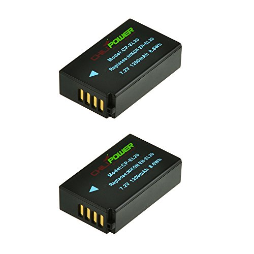 ChiliPower 2-Pack EN-EL20, ENEL20 (1200mAh) Batería para Nikon 1 J1, Nikon 1 J2, Nikon 1...