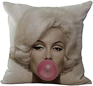 LoooL 18 by 18 Inches Square Cotton Linen Retro Vintage Marilyn Monroe Home Decorative Throw Pillow Cover Pillow Case Pillowcase Cushion Cover Pillow Sham (Marilyn Monroe 1)