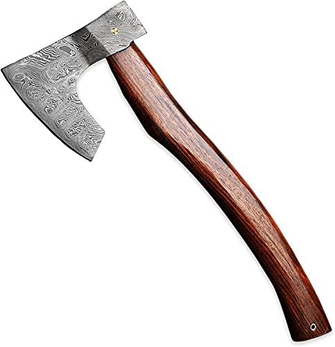 Hacha vikinga hecha a mano de acero de Damasco hacha bellota hacha barbuda viene con funda de cuero EL2107